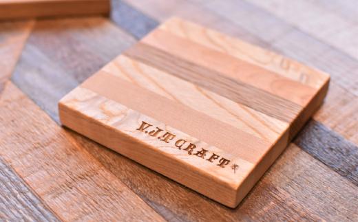 8-9 名前入れ寄木コースター2枚セット