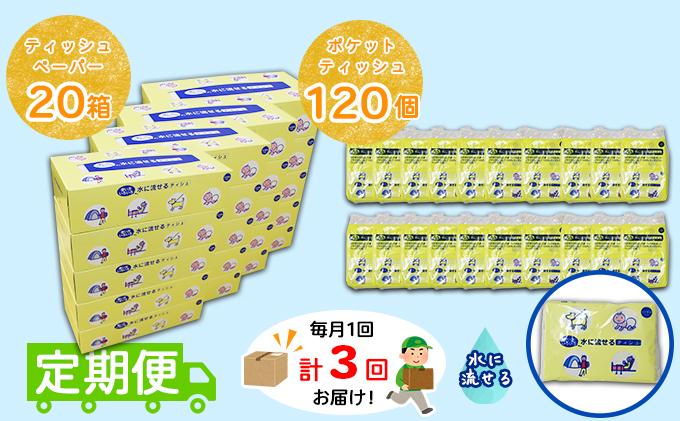 【定期便】毎月1回 計3回 とけまるくんティッシュ 20箱&とけまるくんポケットティッシュ 120個 セット まとめ買い 大容量 雑貨 日用品 生活用品 備蓄 箱 紙 ボックス