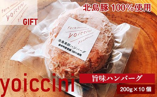 ギフトに!北島豚100%使用!ヨイッチーニ旨味ハンバーグ200g×10個〈ヨイッチーニ〉