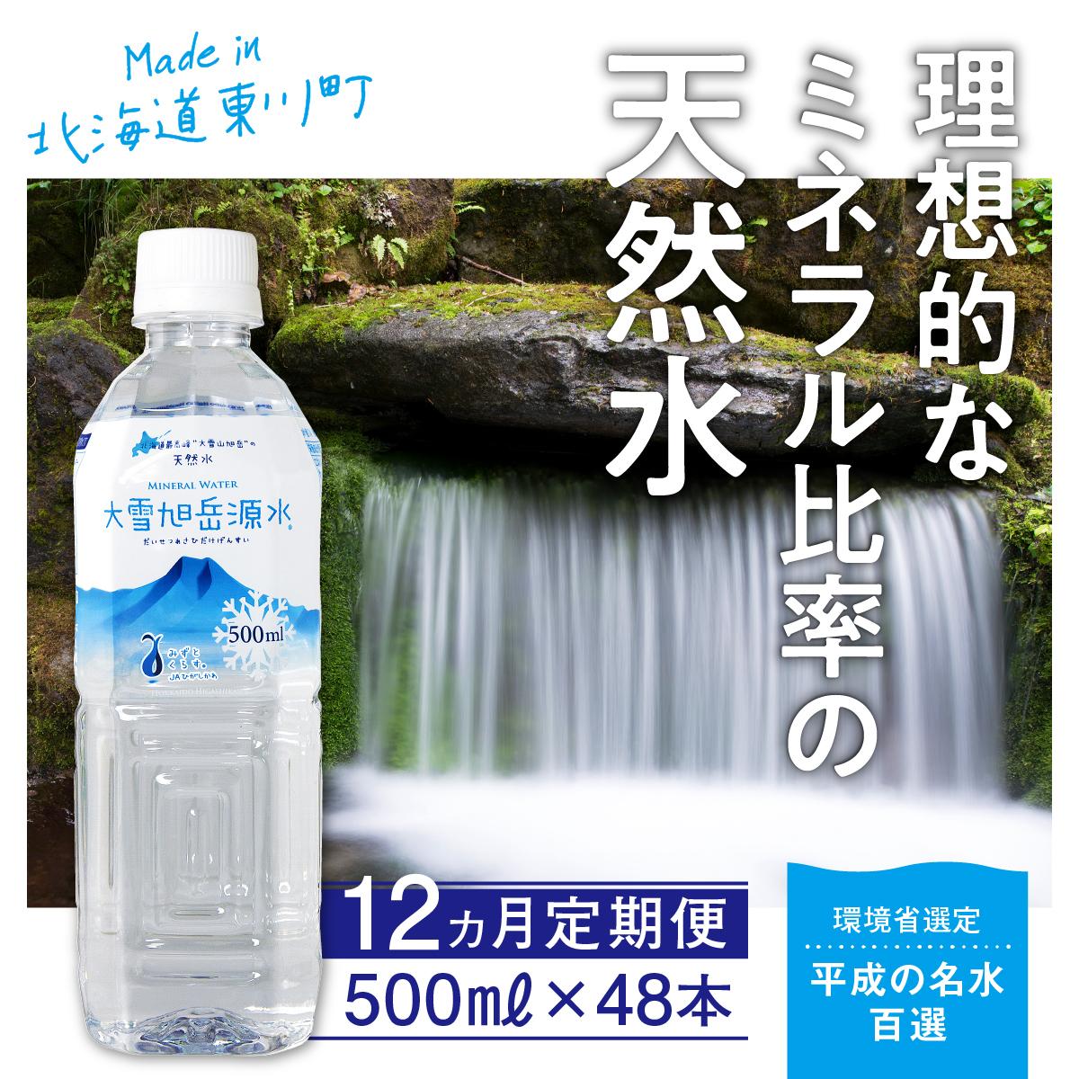 【定期便12回配送】まいにちが、天然水。「大雪旭岳源水」〈500ml×48本×12回配送〉【21012013】