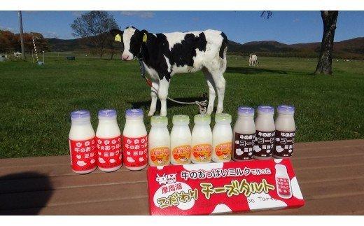 46.牛のおっぱいミルクセット②(牛のおっぱいミルク200ml×3本、牛のおっぱいコーヒーミルク200ml×3本、牛のおっぱいのむヨーグルト150ml×4本、摩周こだわりチーズタルト3個入×1箱)