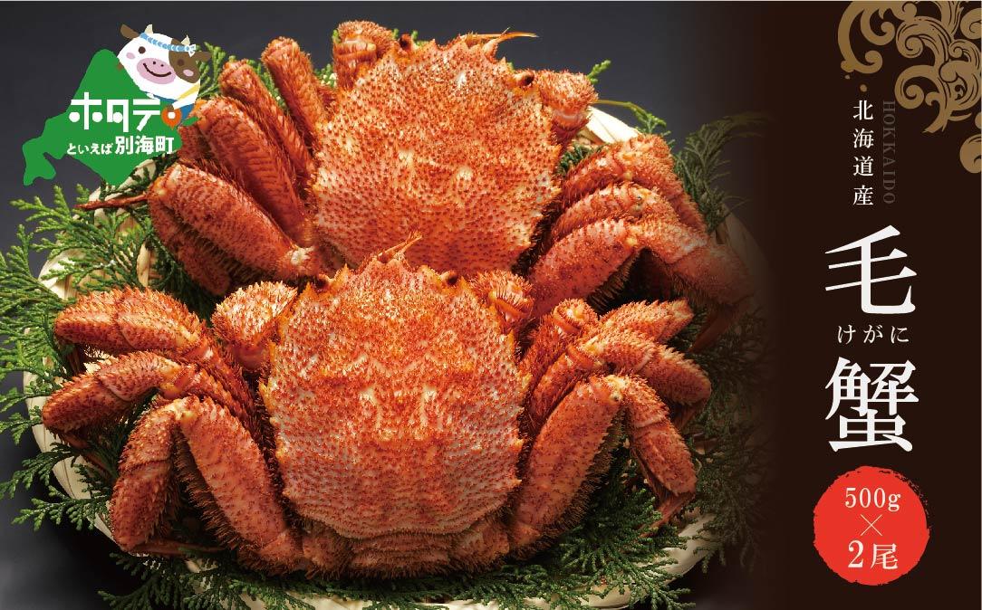 北海道 産 毛蟹 1kg (冷凍) 約 500g ×2杯