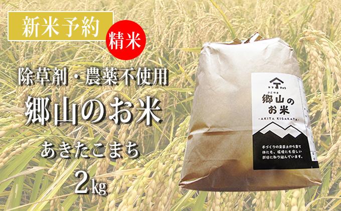 【新米予約】農薬不使用のあきたこまち(精米)「郷山のお米」2kg