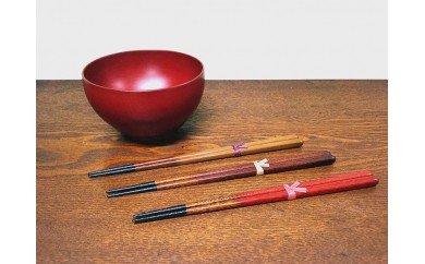 本漆塗 お椀と箸セット(4寸椀(本朱)1客/箸1膳(21cm))
