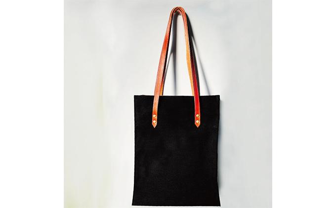 倉敷産帆布×本牛革 スクエアバッグ(黒×ブラウン)