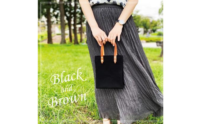 倉敷産帆布×本牛革 ミニトートバッグ(黒×ブラウン)
