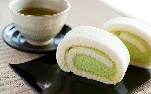 【特製抹茶使用】茶の実ロールケーキ2本セット (粉末緑茶ボトル付き)