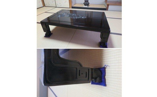 境町の名工シリーズ!黒壇を使用した手彫り牡丹の座卓×1台