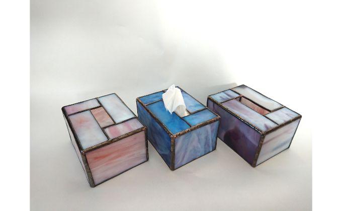 ステンドグラスのポケットティッシュケース2個セット(ブルー・イエロー)