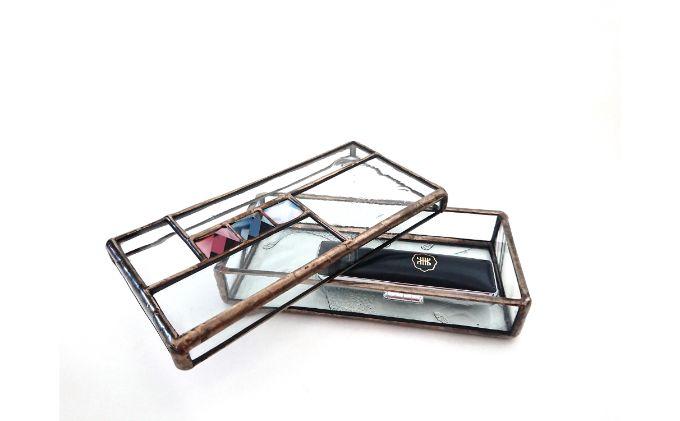 ステンドグラスの判子入れ小箱2個セット