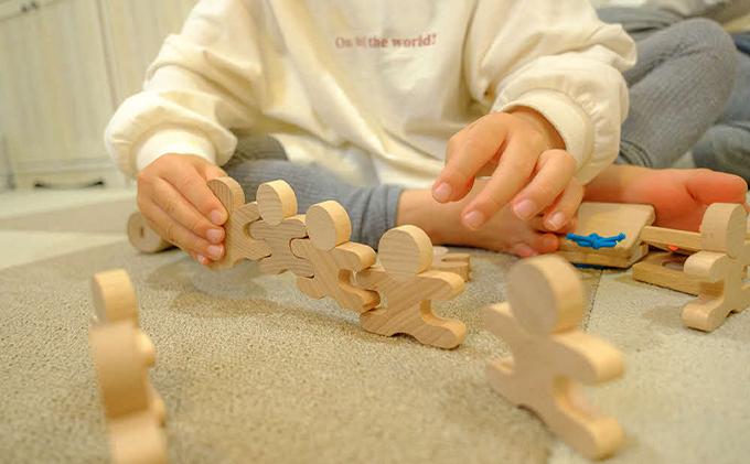 遊び方いろいろ!人型木製積み木!「忍者112ピース(木製BOX箱入り)」