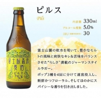 【定期便/富士河口湖地ビール】富士桜高原麦酒(4種12本セット)×6ヶ月