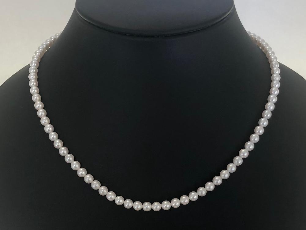 【120-12】清楚に輝く アコヤベビーパール 4.5~5㎜ 花珠クラス ネックレス 43.5cm(プラチナ)*