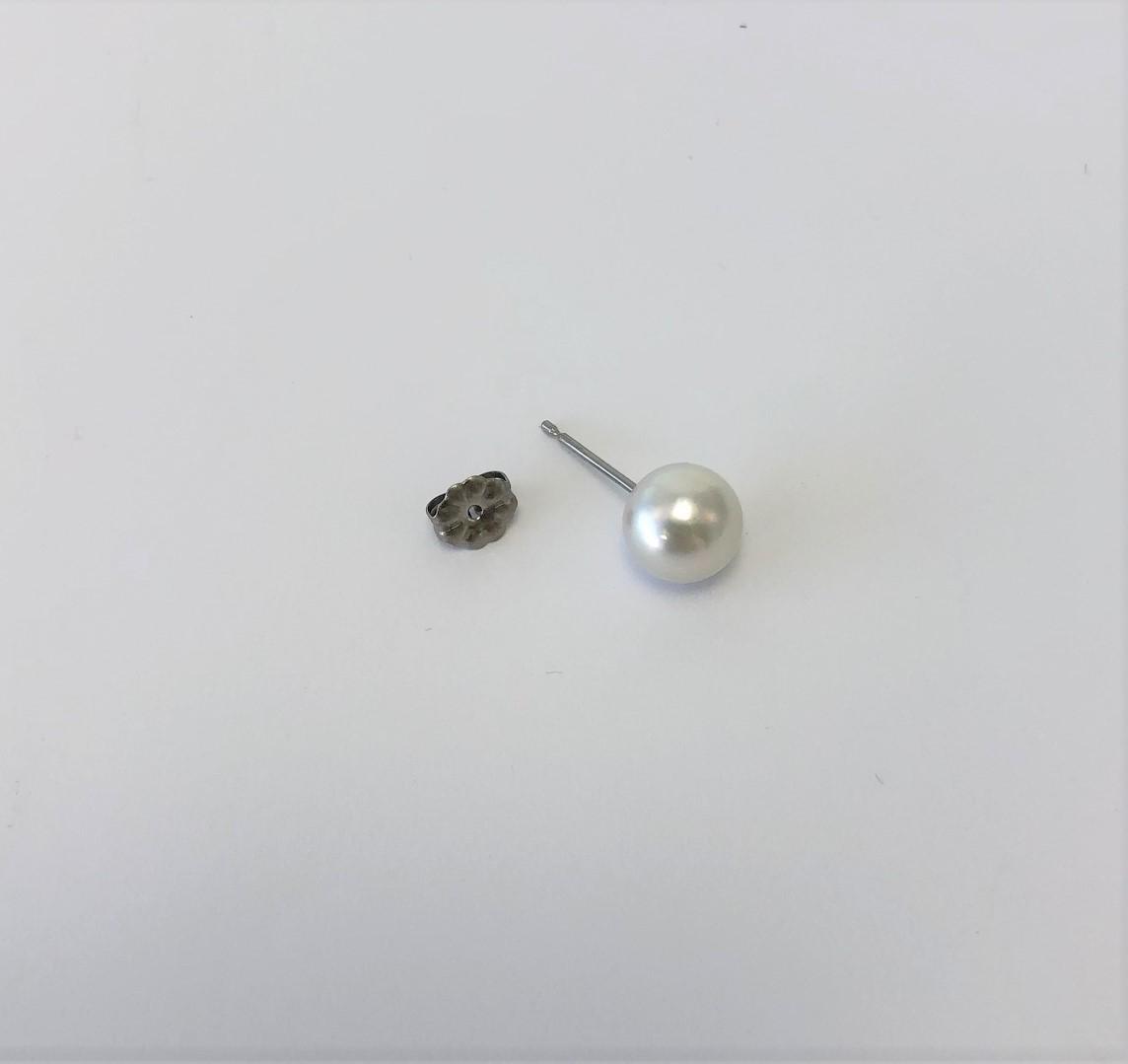 【040-13】志摩産アコヤ真珠ナチュラル8.0mmイヤリング/ピアス(ピアス)*