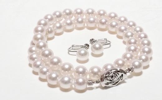 【300-37】三重ブランド アコヤ真珠8.5ミリ~9.0ミリネックレス・イヤリングセット*