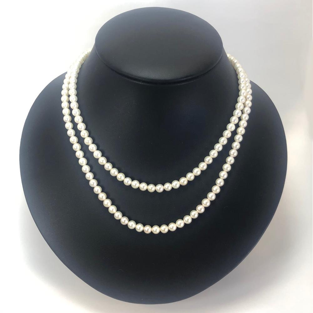 【110-01】清楚に輝く志摩市産アコヤ真珠5mm真珠のロングネックレスN80(プラチナ)*