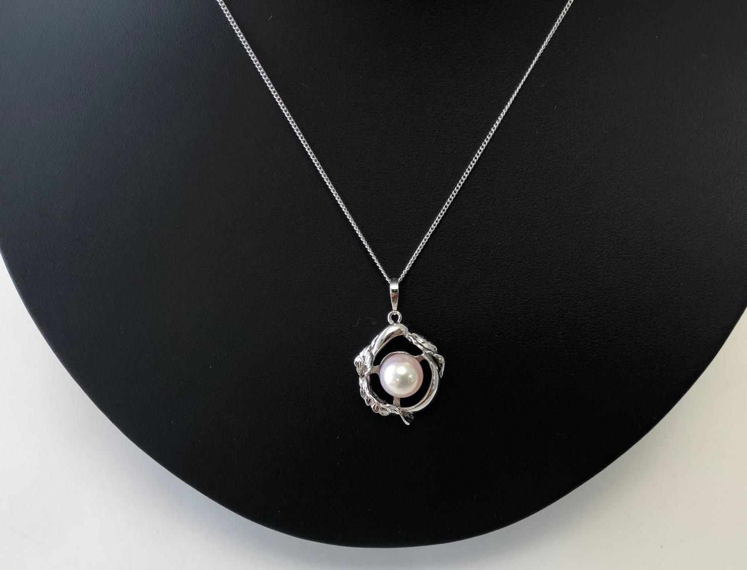 【035-05】志摩産アコヤ真珠9.0mmリーフデザイン一粒ペンダント*