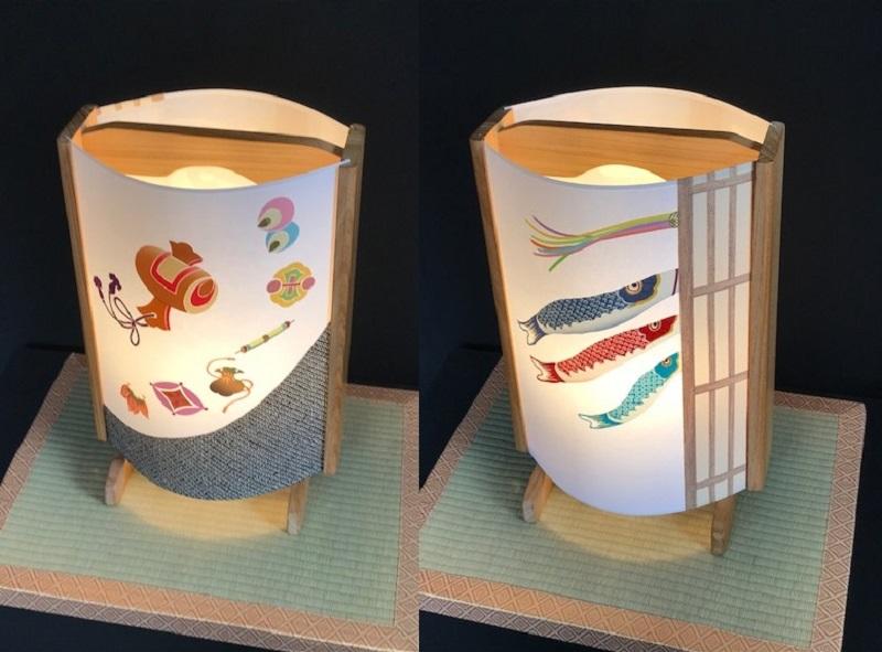 099H267 着物生地で作ったおしゃれな行灯(あんどん) 鯉のぼりと宝尽くし