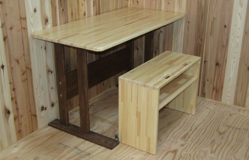 099H346 手作り木製ダイニングテーブルセットVer.2
