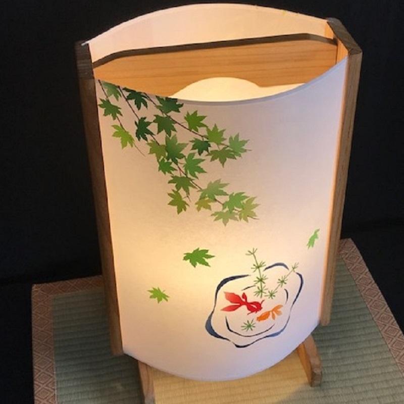 099H268 着物生地で作ったおしゃれな行灯(あんどん) 金魚と紫陽花