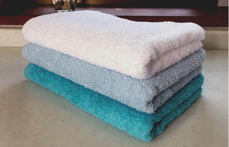 005A238 クラッシー ロングタオル3枚(ブルー系 2色とオフホワイト)