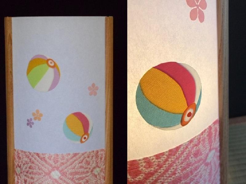 030D061 着物生地で作ったおしゃれな行灯(あんどん) カラフルな紙風船