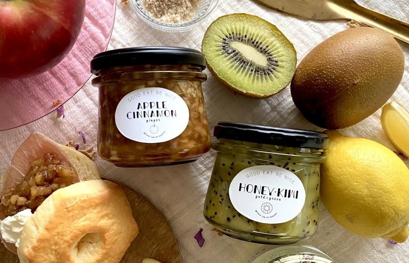 005A385 季節のフルーツ 手作りジャム 2種セット(キウイ・アップルシナモン)