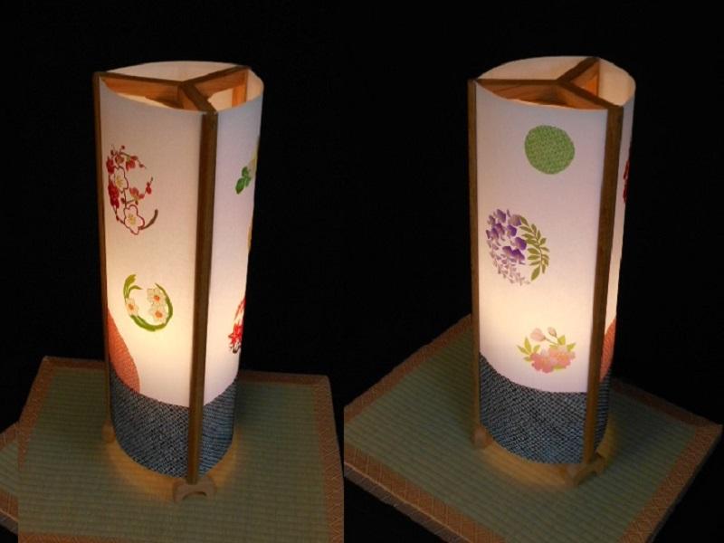 099H266 着物生地で作ったおしゃれな行灯(あんどん) お花のドット