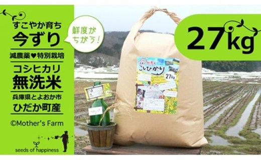 【新米】お米 27kg(白米)今ずり・無洗米 令和2年産 コシヒカリ 兵庫県但馬産