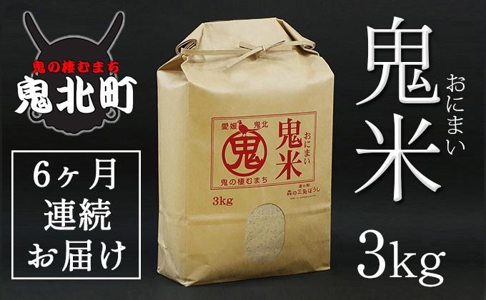 【定期便】令和3年産 鬼北のお米「鬼米(おにまい)」3kg×1袋 6ヶ月連続お届け