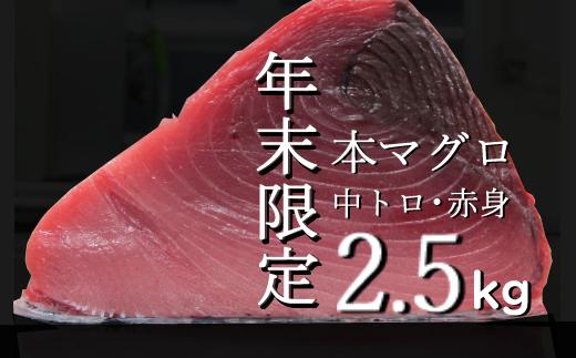 【年末限定受付】高豊丸天然本まぐろ 中トロ・赤身2.5kg(小分けカット済)<遠洋マグロ漁船漁獲の海の宝石クロマグロ>