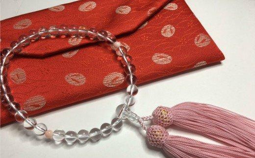 水晶とピンク珊瑚の数珠