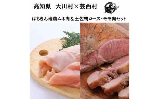 【大川村と芸西村の共通返礼品】はちきん地鶏ムネ肉 700〜800g&土佐鴨ロース・モモ肉 約1kg