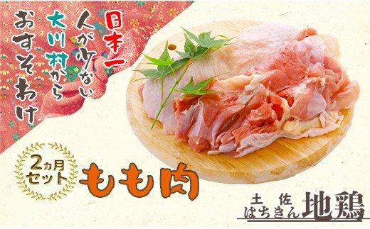 大川村土佐はちきん地鶏もも肉1kg(500g×2パック)×2ヶ月