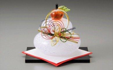 ガラス置物<鏡餅(大)> ◆マルティグラス[A0538]