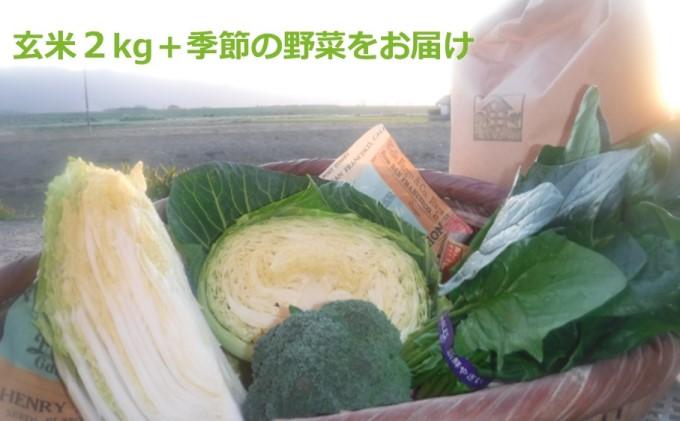 お米(玄米)2kgと季節の お野菜 セット