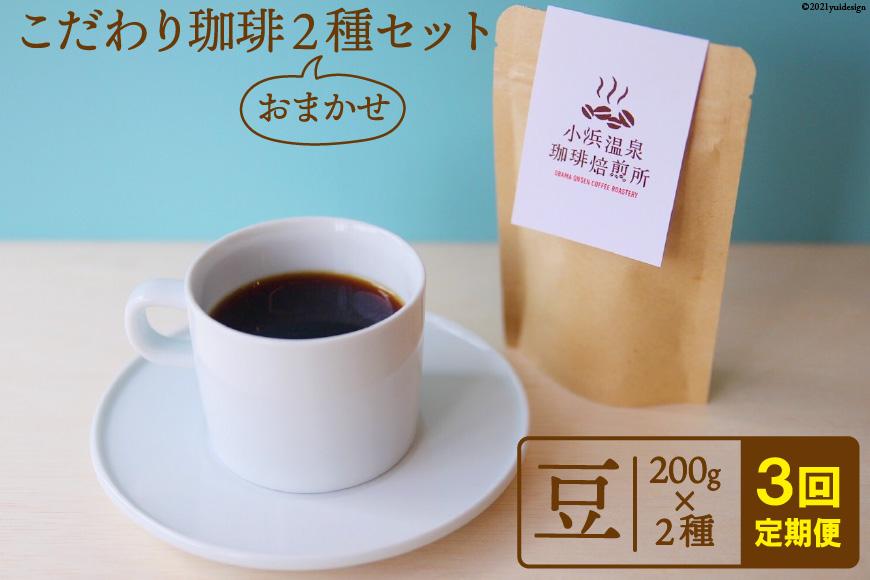 【3回定期便】自家焙煎コーヒー[豆] 200g×2種<小浜温泉珈琲焙煎所>【長崎県雲仙市】
