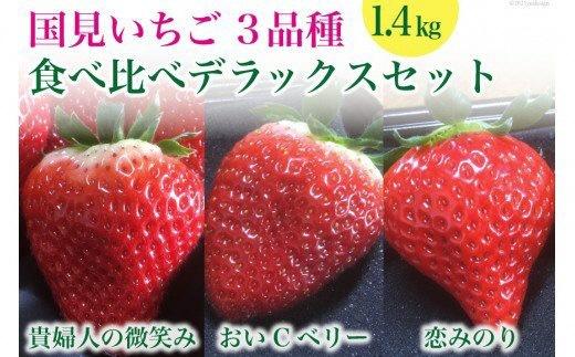 国見いちご 3品種『貴婦人の微笑み』『おいCベリー』『恋みのり』食べ比べ デラックスセット1.4kg