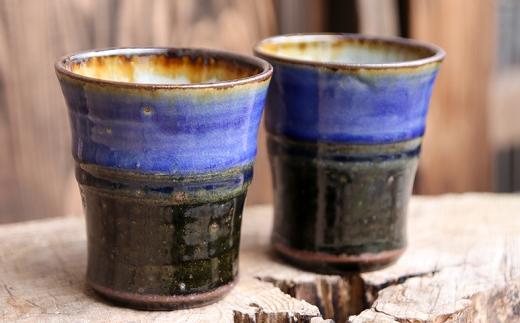 まもる窯・呉須(ごす)釉掻き分けコップ2個組