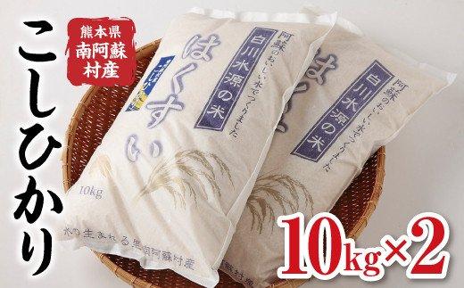 南阿蘇村産『はくすい米こしひかり(白米)』10kg×2袋