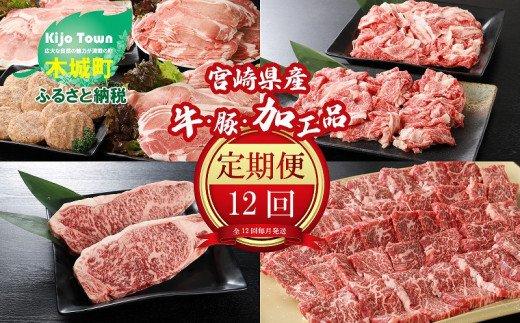 <12か月定期便 宮崎県産 牛・豚・加工品定期便!>