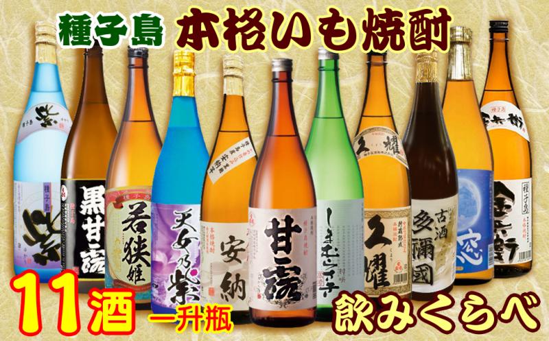 種子島焼酎 11酒飲みくらべ 島のおつまみ付き 一升瓶セット 2460pt