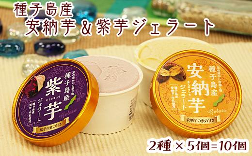 種子島産 安納芋&紫芋ジェラート10個セット
