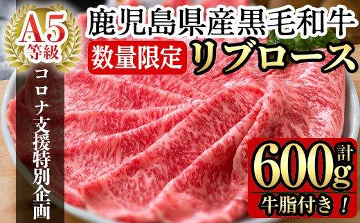 鹿児島県産黒毛和牛リブロース肉600g(A-5等級)国産!鹿児島県産黒毛和牛肉の中でも最高ランクA5等級のリブロース肉をすき焼き