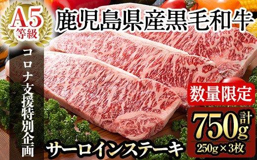 鹿児島県産黒毛和牛サーロインステーキ250g×3枚合計750g(A-5等級)国産!鹿児島県産黒毛和牛肉の中でも最高ランクA5等級