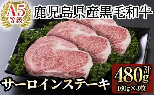 C-040 鹿児島県産黒毛和牛サーロインステーキ160g×3枚セット(A-5等級)【九面屋】
