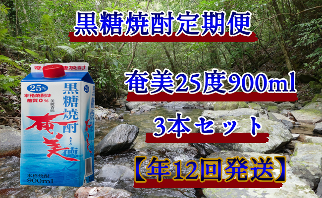 【天城町】黒糖焼酎定期便『奄美25度』900ml×3本セット【年12回】